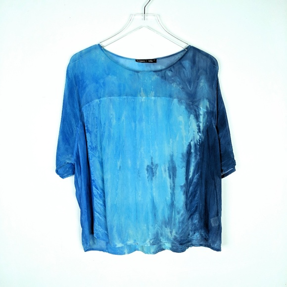 a9f64809d8591e Gypsy 05 Tops - Gypsy05 100% Silk Blouse Blue Ink Blot Tie Dye S